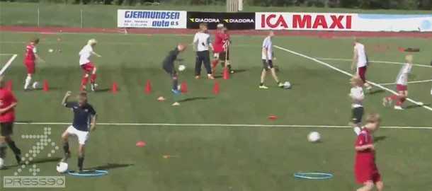 Kids soccer drills to improve technique1 تمرينات بهبود مهارت حمل توپ