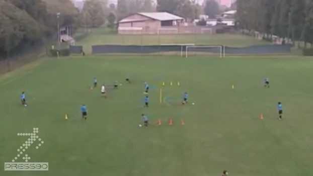 تمرین آکادمی فوتبال اينترميلان با هدف پاس ، دريافت و كنترل نزديك به بدن
