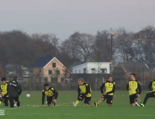 گرم کردن تیم فوتبال دورتموند – حرکات ریتمیک ، کششهای پویا و گرم کردن زانو و مچ پا